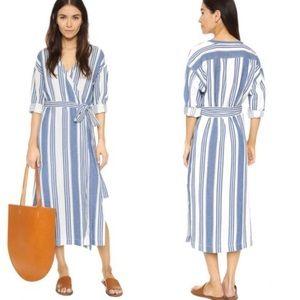Madewell striped wrap around dress